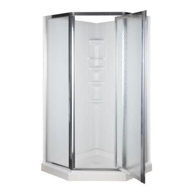 ASB 38 in. x 38 in. x 74-1/4 in. Neo-Angle Shower Kit in White and Chrome-403306 at The Home Depot
