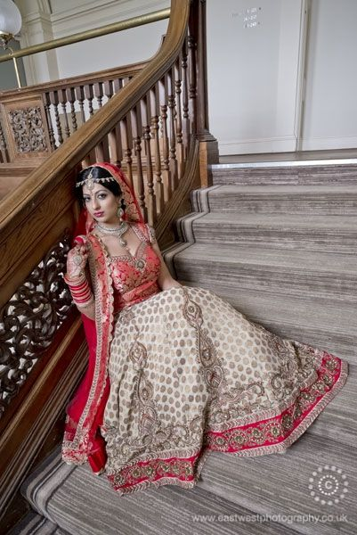 Bespoke red and gold lengha  by www.yuvish.co.uk