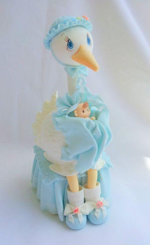 Stork cake topper baby boy stork cake topper by ForeverSweetfavors, $45.00