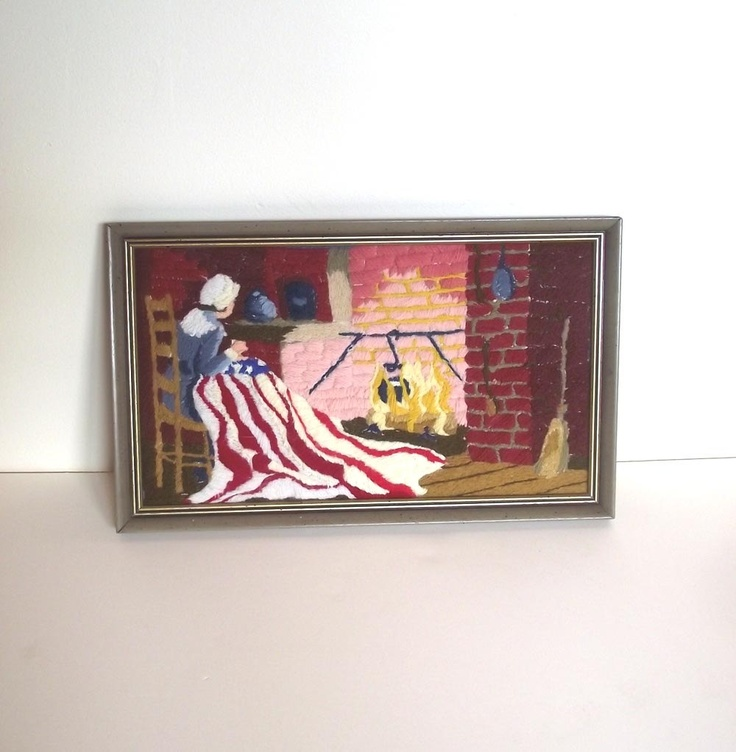 Wall Decor Ross : Th of july embroidery decor vintage s betsy ross