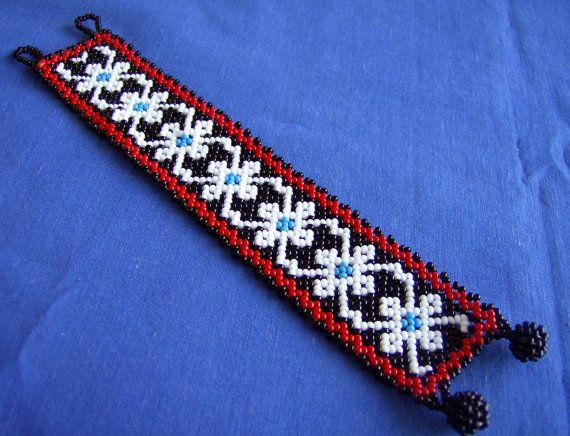 Mexican Huichol Beaded bracelet by Aramara on Etsy, $14.50