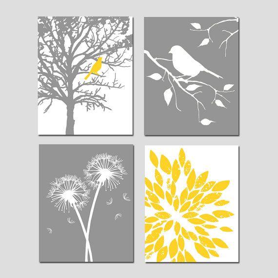 Yellow Gray Art Quad  Set of Four 8x10 Nursery Prints  by Tessyla, $65.00