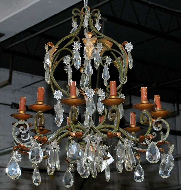 http://thegablesantiques.com Vintage French iron and crystal chandelier  with 12 lights - 24 Best The Gables Antiques - Chandeliers Images On Pinterest