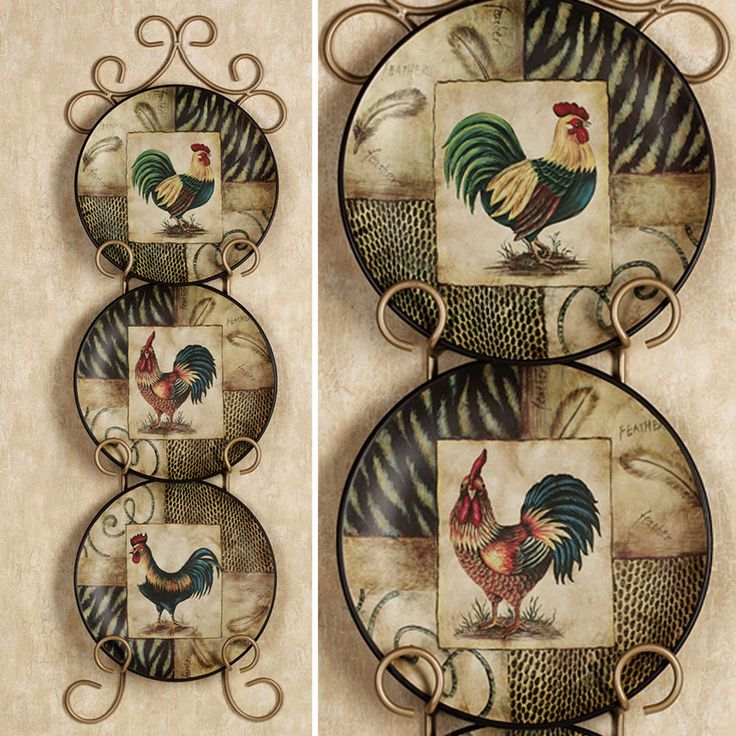 decorative rooster plates set of 3 roosters plate kitchen dining room wall decor - Decorative Wall Plates