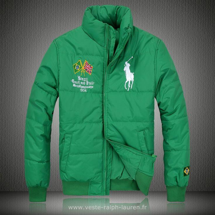 Polo officiel - Ralph Lauren doudoune manteau hommes 2013 classic big pony  drapeau national brazil vert