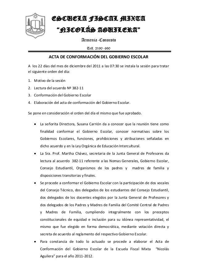 """ESCUELA FISCAL MIXTA  """"NICOLÁS AGUILERA""""  Armenia-Conocoto  Telf. 2190- 690  ACTA DE CONFORMACIÓN DEL GOBIERNO ESCOLAR  A los 2..."""