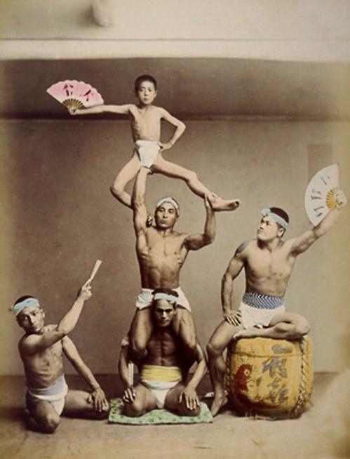 """Acrobatic Performers.....Karuwaza and """"kyokugei"""" have the same meaning in Japanese, but in the modern age, karuwaza was used mainly for tight-rope walkers. They moved lightly, and performed acrobatics. In 1866, they also performed abroad and gained popularity."""