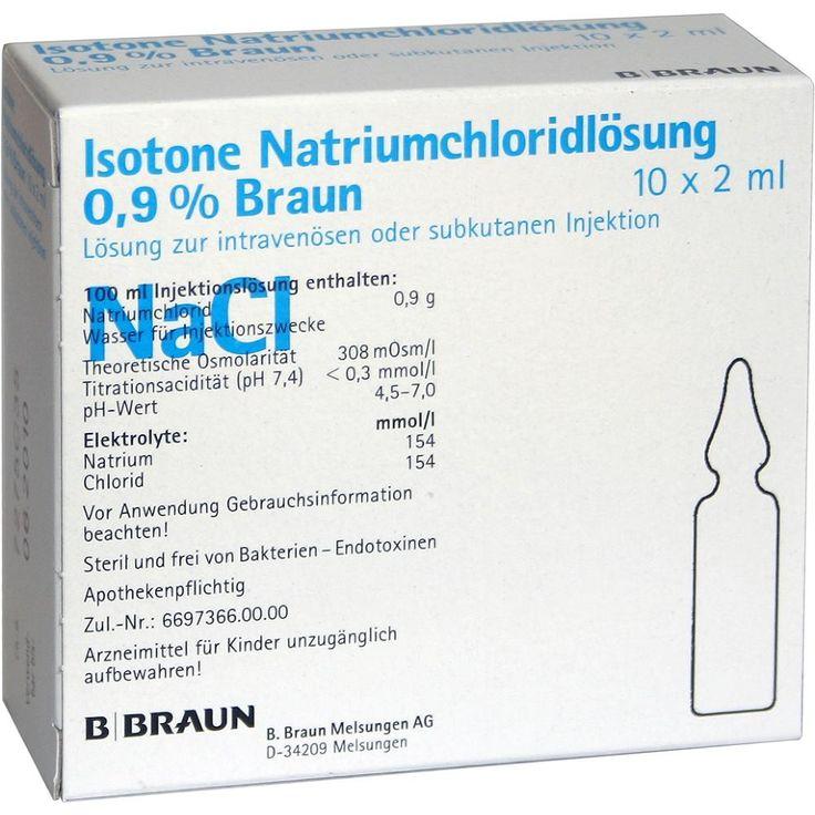 KOCHSALZLÖSUNG 0,9 prozent Injektionslösung:   Packungsinhalt: 10X2 ml Injektionslösung PZN: 00808558 Hersteller: B. Braun Melsungen AG…
