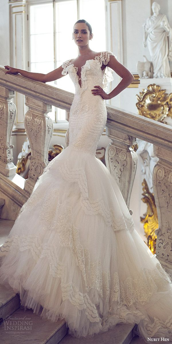 nurit hen 2016 bridal flutter sleeves split sweetheart neckline mermaid lace wedding dress (06) romantic mv