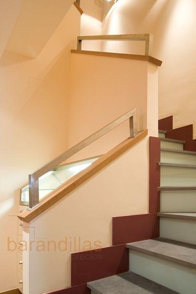 Pasamano encima de muro en acero inoxidable de 40x40 y - Tipos de escaleras ...