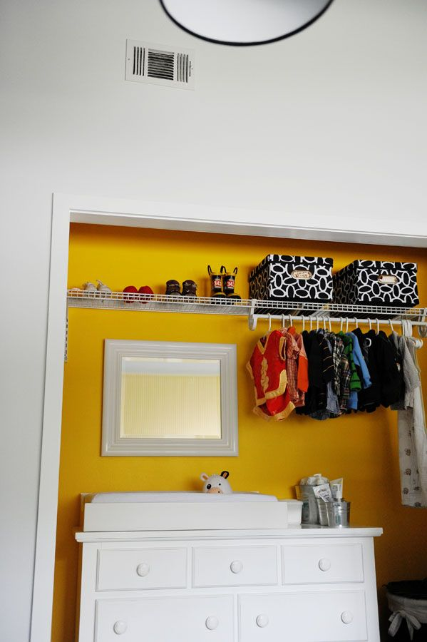 Space saver: remove doors from closet and place changing table in it. Paint it a bright color for a fun pop of color! #modernnursery #summerinthecityThe Doors, Closets Doors, Closets Organic, Change Tables, Closets Yellow, Changing Tables, White Wall, Closets Spaces, Baby Nurseries
