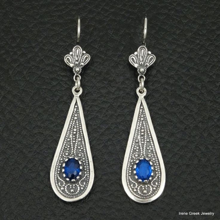 BLUE SAPPHIRE CZ BYZANTINE STYLE 925 STERLING SILVER GREEK HANDMADE ART EARRINGS #IreneGreekJewelry #Dr