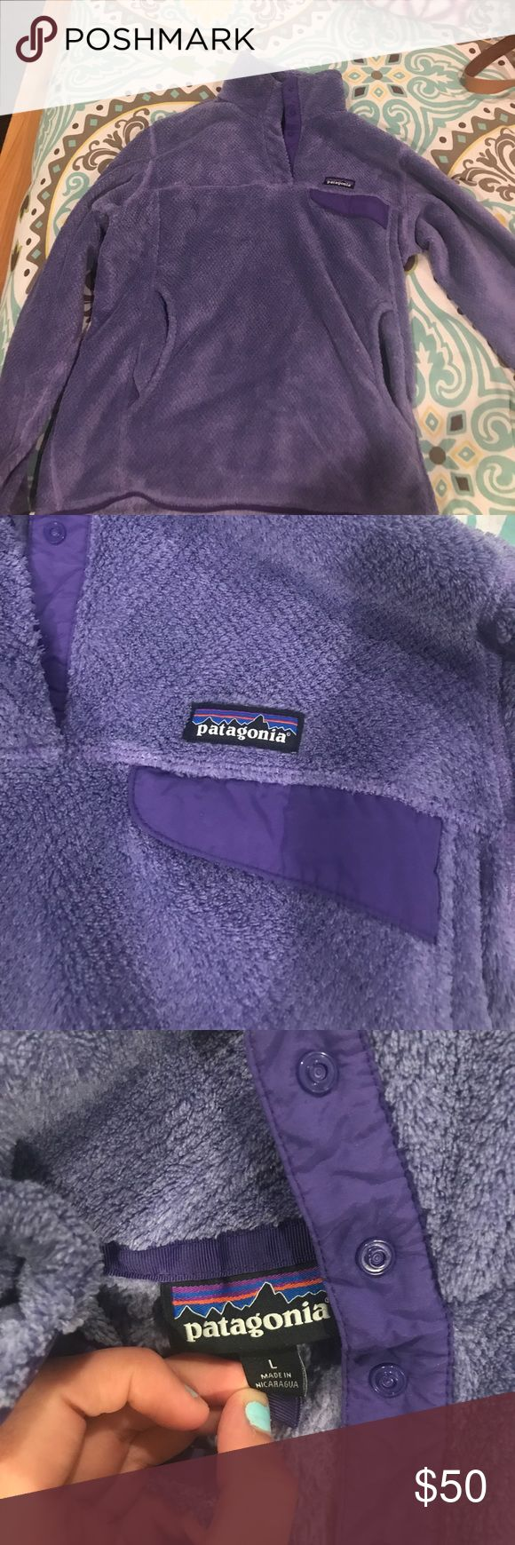 patagonia pullover Purple with buttons at the top, literally worn twice Patagonia Tops Sweatshirts & Hoodies