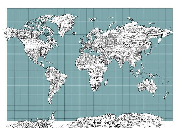 99 best world map images on pinterest digital art world maps and world map landmark collage by bekim art gumiabroncs Image collections