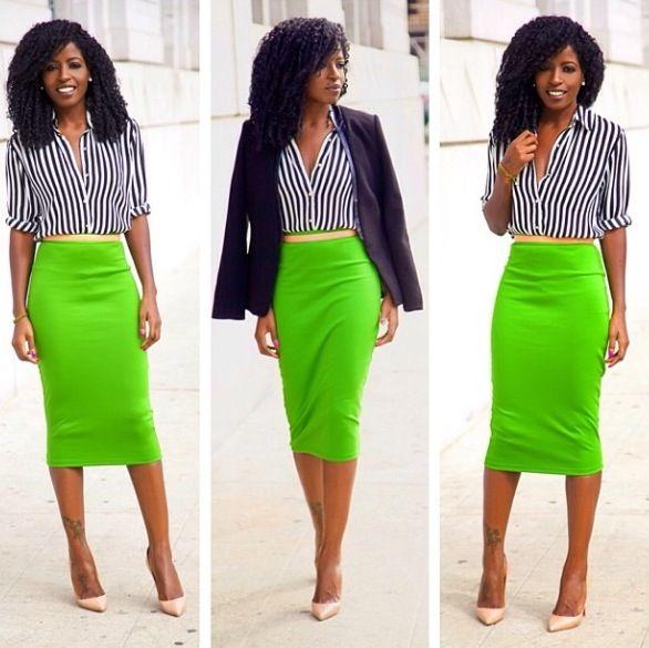 lime green skirt pinstripe blouse ig shoxiestore ig