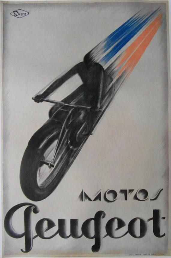 Original 1930s Art Deco French advertising poster for Peugeot motorcycles, printed in Paris. The image depicts a motorcyclist racing ahead with the colours of the French flag in the air stream. Peugeot built their first motorcycle in 1898. In 1930 they absorbed Automoto which had been a pioneer in the field of motorcycles and scooters. Artist: Unknown  Condition: Good- linen backed with linen border. Repaired tear to top edge. Foxing to the bottom edge pictured. Size of poster- 86.5 x 61 cm.