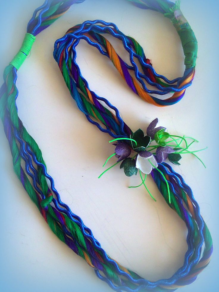 silkc cords-cocoon flowers long necklace/KINZ jewelry