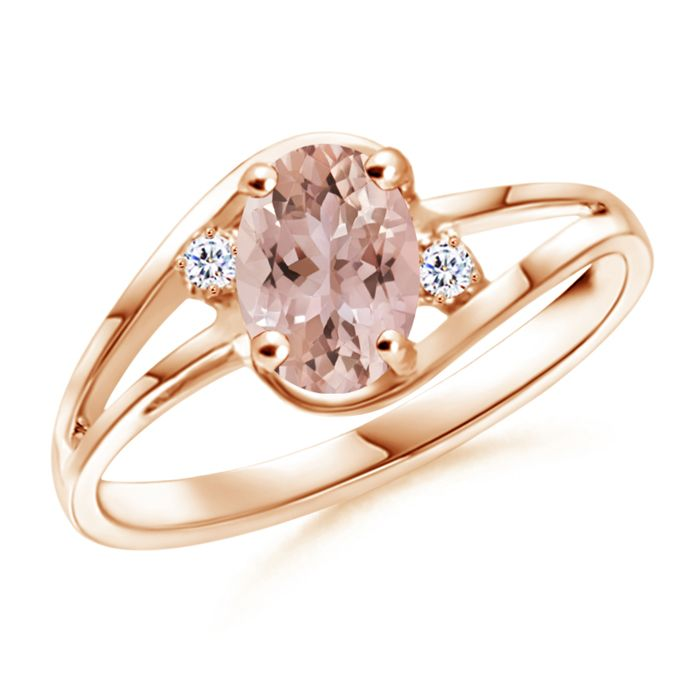 Angara Art Deco Inspired Cushion Morganite Ring with Diamond Halo