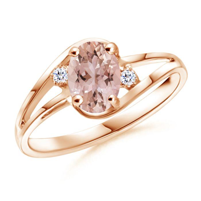 Angara Art Deco Inspired Cushion Morganite Ring with Diamond Halo 2jtf5y