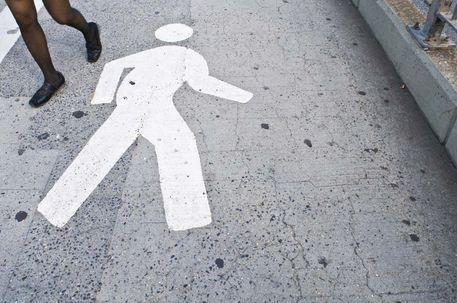 'Pedestrian on Brooklyn Bridge', art print by Megan Daniels  on artflakes.com