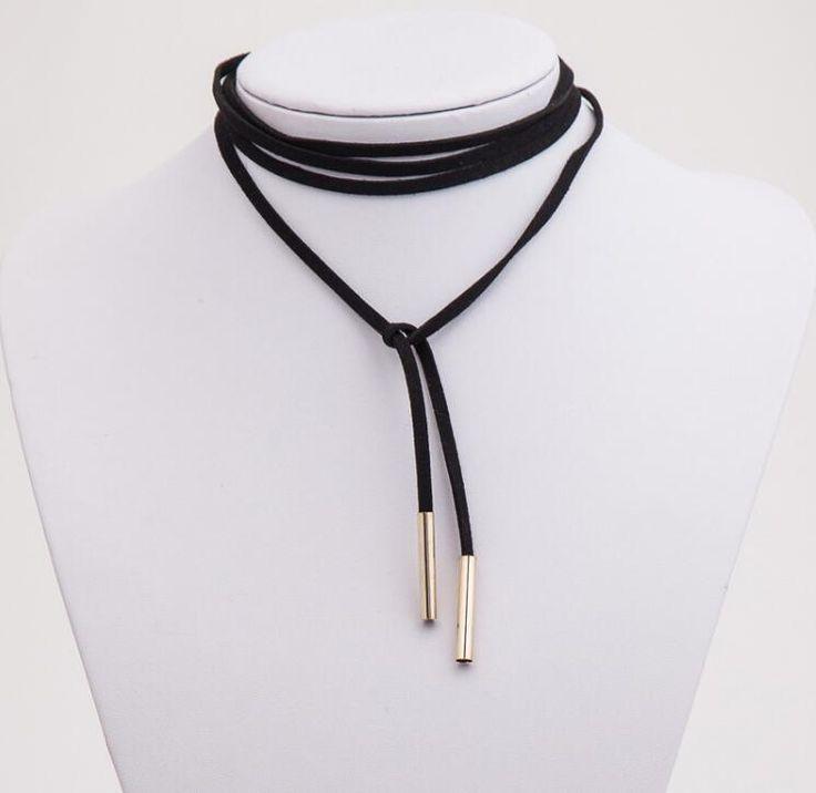 2016 새로운 패션 로프 목걸이 긴 검은 가죽 로프 골드 튜브 거짓 초커 목걸이 여성 콜리어 비쥬