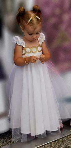 A mini sailor moon fan wearing a princess serenity dress! cuuute!