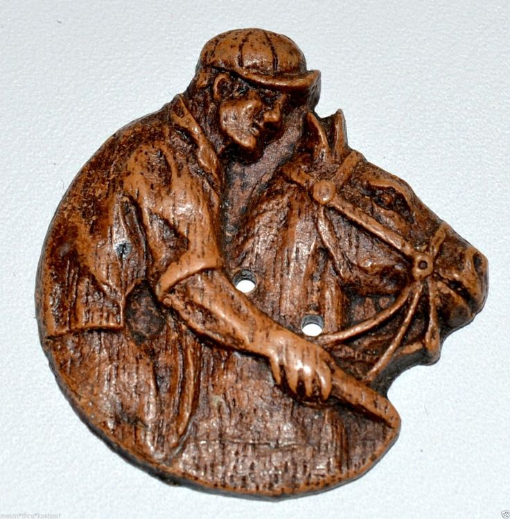 "ButtonArtMuseum.com - Jockey Man on Horse Pressed Wood Button Burwood Syroco 1 1 4"" Horse Race Equine"
