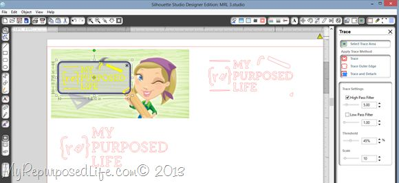 tracing your logo using Silhouette Studio Designer Edition from My Re-Purposed Life