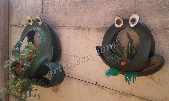 Artesanato de pneus: Sapos floreiras feitos com pneus de carro e carrinho de mão (COM PASSO-A-PASSO!) #artesanato #criatividade #pneus #reciclagem #decoração #jardim #floreira #sapos
