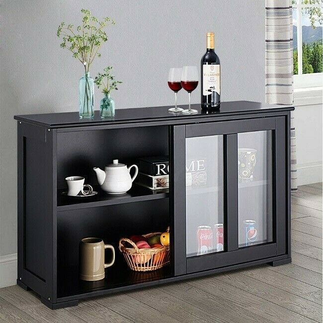 Buffet Console Table Black Storage Cabinet Kitchen Dining Sideboard Display Case Buffetconsoletable Moder Dining Room Buffet Dining Storage Sideboard Storage
