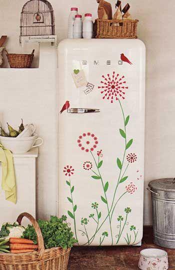 Painted fridge #alternate_art_forms  http://somethingbeautifuljournal.blogspot.com/2013/05/art-and-artwork-on-budget.html