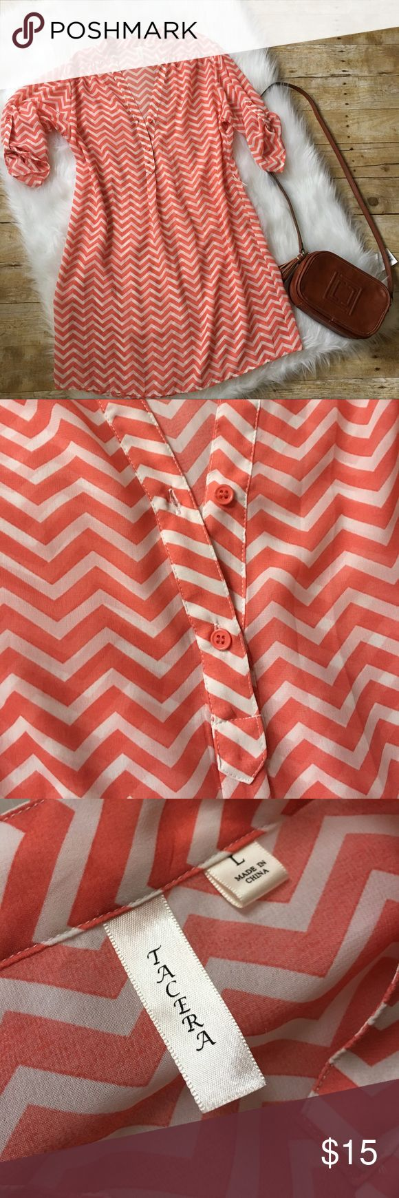Cute spring chevron dress ECU / ships in 24 hours/ smoke free pet free home/ no trades/ make me an offer / save 20% when bundling , should wear a slip or leggings under it's pretty see through and it is an oversized L more like an XL tacera Dresses Midi