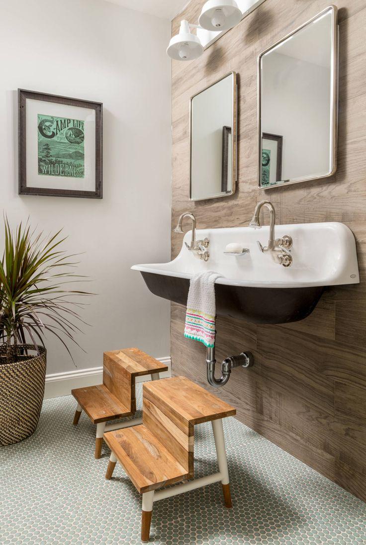 kidsu0027 bathroom with trough sink