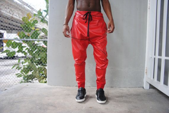 Pantalón bombacho de cuero rojo gota entrepierna / hombres pantalones de cuero / cuero corredores / tres bolsillos / hecho a mano hilos de mordaza