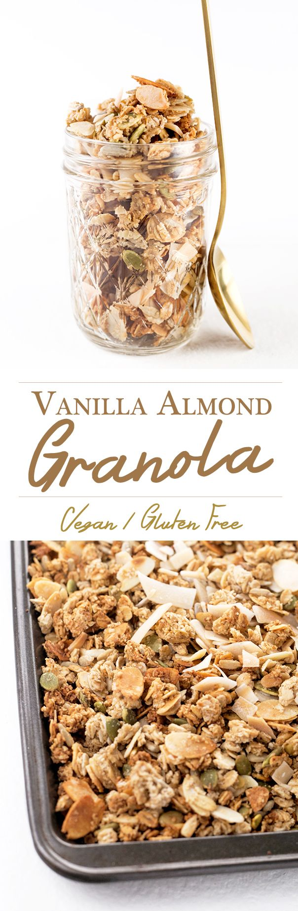 Vanilla Almond Vegan Granola - delicious Vegan granola loaded with clusters, flavored with Almond and Vanilla.