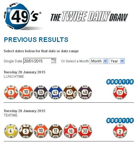 Jan 20, 2015 Irish Lottery Results for 49's 1st Draw and 2nd Draw
