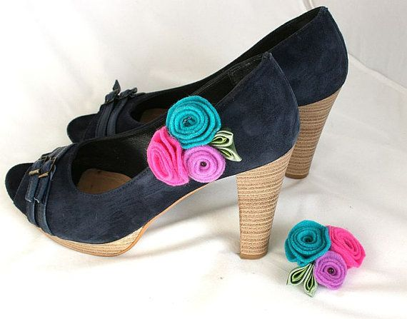 Flower  Shoe Clips  Bouquet  Shoe Clips Colorfull by SoutacheOOAK