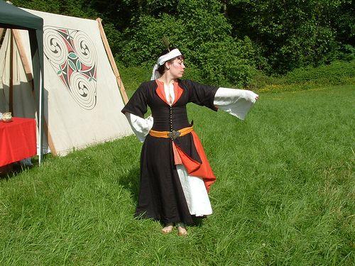 My Turkish, showing black linen entari lined in orange silk. Agnes~13costumes
