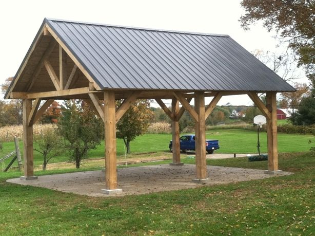 Covered Shelter Plans : Timber frame pavillion cut on timberking sawmill