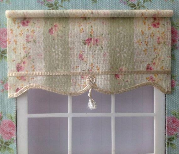 12th scale blind for dollshouse green pink rose stripe with tassel pull for doll house