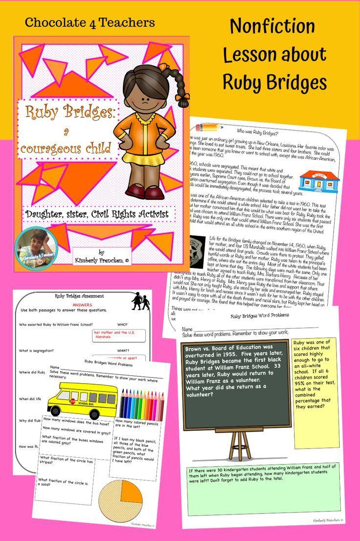 Ruby Bridges Non Fiction Passages And Printables Nonfiction Lessons Kindergarten Worksheets Kindergarten [ 1104 x 736 Pixel ]