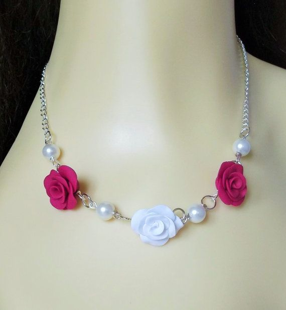 Rose Necklace Fuschia Pink Statement Necklace by fabtasticflowers