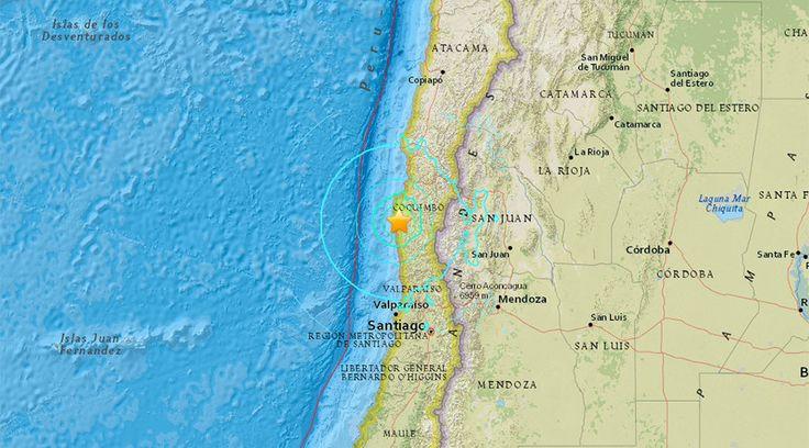 6.8 magnitude earthquake strikes Chilean coast, tremors felt in Santiago  http://pronewsonline.com/headlines  © earthquake.usgs.gov