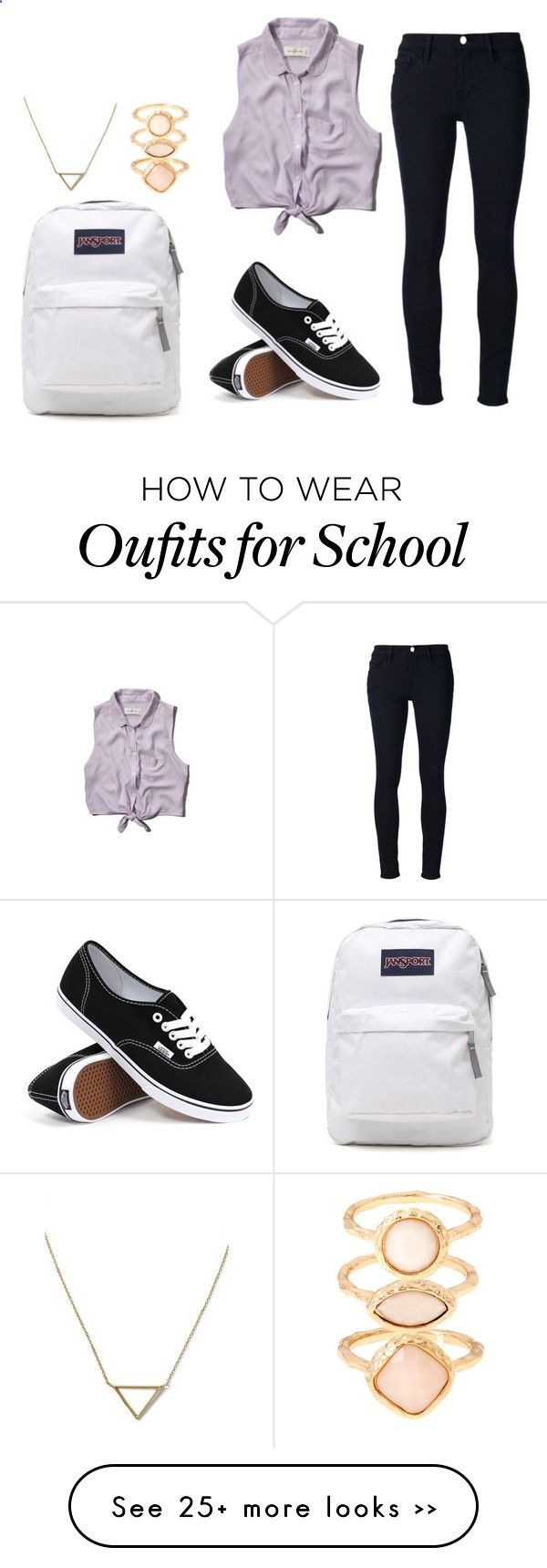 third day of school outfit idea by bubblygirl11 on Polyvore featuring Frame Denim, Abercrombie  Fitch, JanSport, Vans, Monsoon and Banana Republic