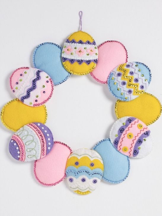 New Bucilla Easter & Spring Felt Kits perfect for Easter 2017! Love this Easter Egg Wreath!