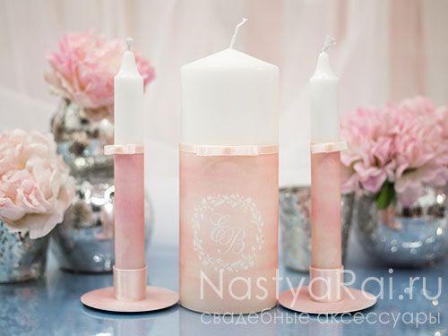 """Розовые свечи с инициалами """"Акварель"""""""