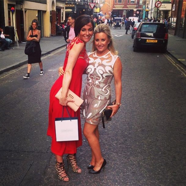 @Miss Stylust and Justine Jones are looking gorgeous in @NataliaKaut dresses on their way to Aston Martin & Bespoke HQ Party