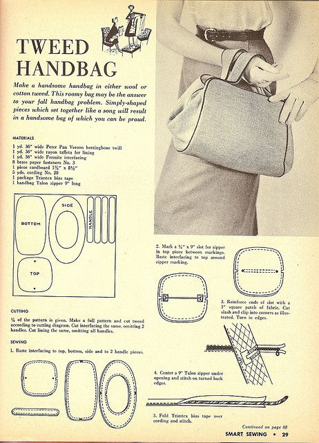 Vintage Tweed Handbag with FREE Sewing Pattern and Tutorial