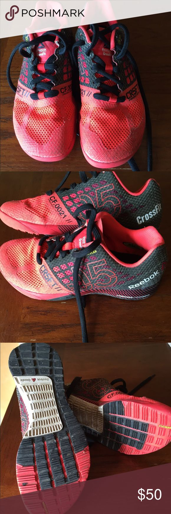 Reebok Crossfit Nano 5 sz 7 Reebok Crossfit Nano 5. Size 7. Worn a few times. Have too many pairs-time to spring clean my collection.  Great bright red with black accent. Reebok Shoes Athletic Shoes