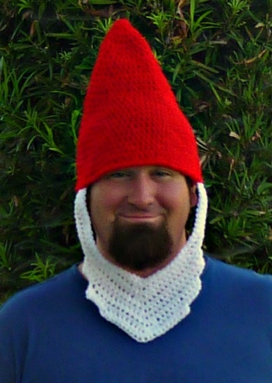Crochet Lawn Gnome Hat and Beard - Free Pattern - maybe turn it into santa?